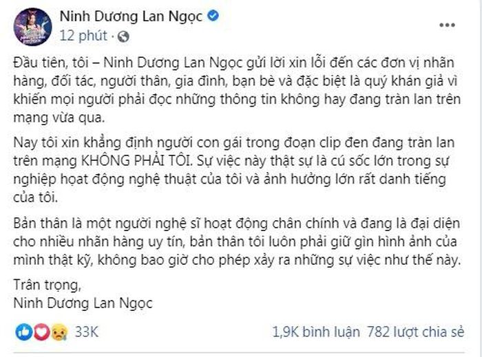 Famous Vietnamese actress leaked sex clip officially raises her voice