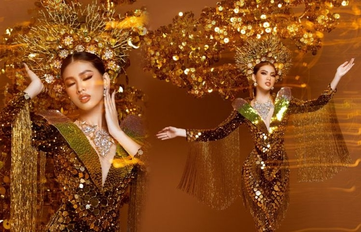 Vietnamese beauty in top 10 'Best National Costume' at Miss Grand 2020