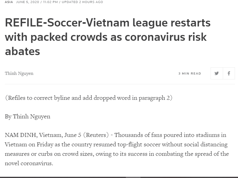 "The Reuters and AP reported on ""packed audiences"" images at V-League 2020"