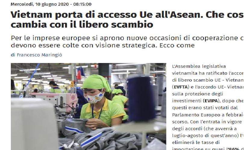 Vietnam - a gateway for EU to access ASEAN: Italian news site