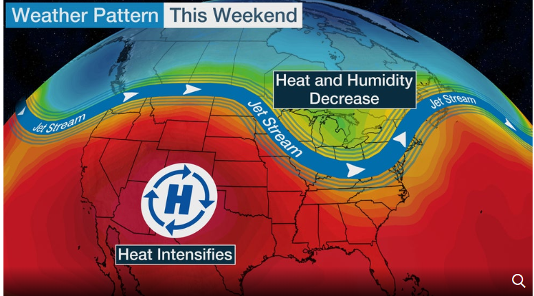 us and canada weather forecast today july 10 pattern change brings temporary heat relief to great lakes as hot temperatures intensify in southwest