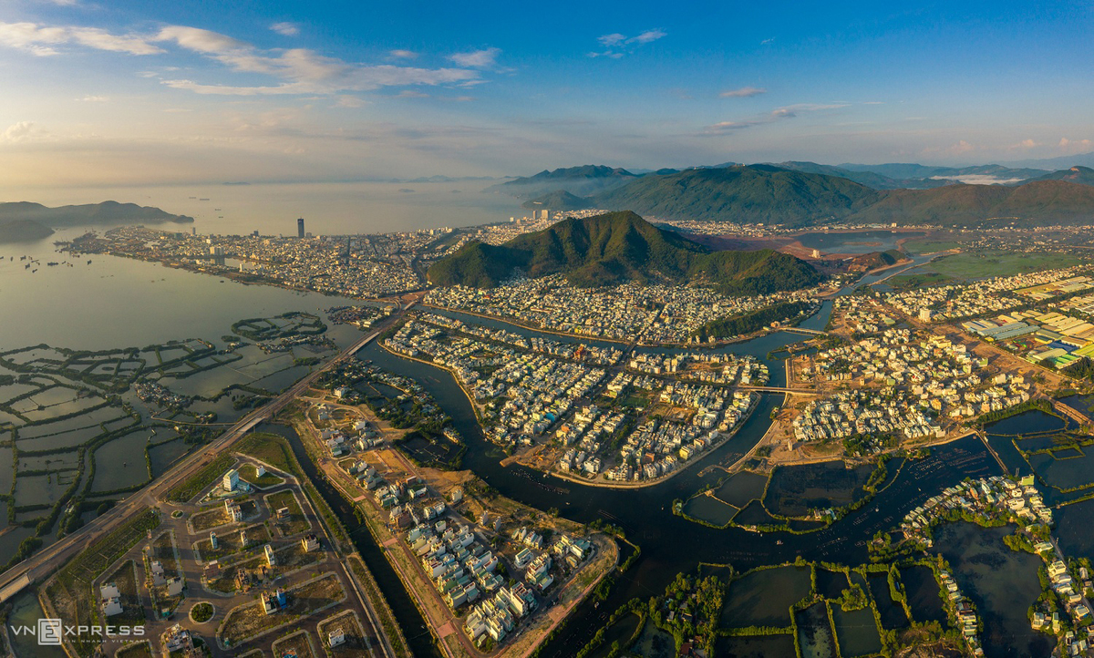 picturesque scenery of coastal city quy nhon from bird eye view