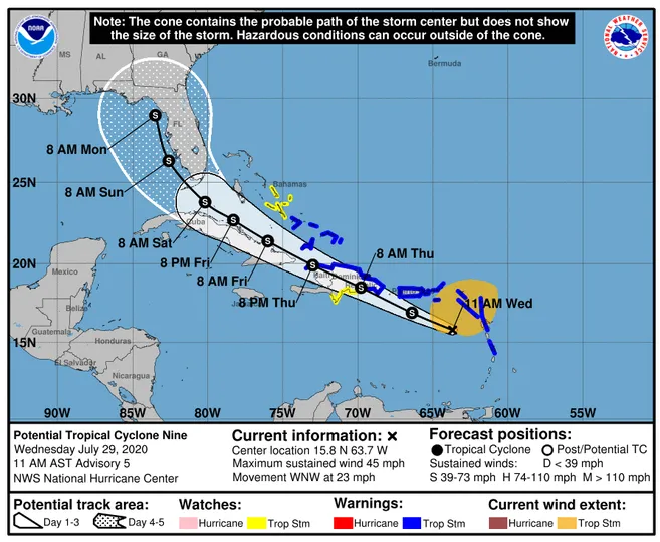US and Canada weather forecast July 30: Tropical Storm Isaias knocks on Puerto Rico's door, could eye Florida next