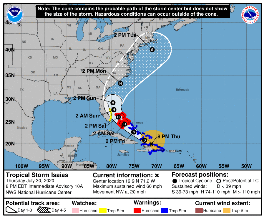 US and Canada weather forecast July 31: Tropical Storm Isaias forecast to become hurricane