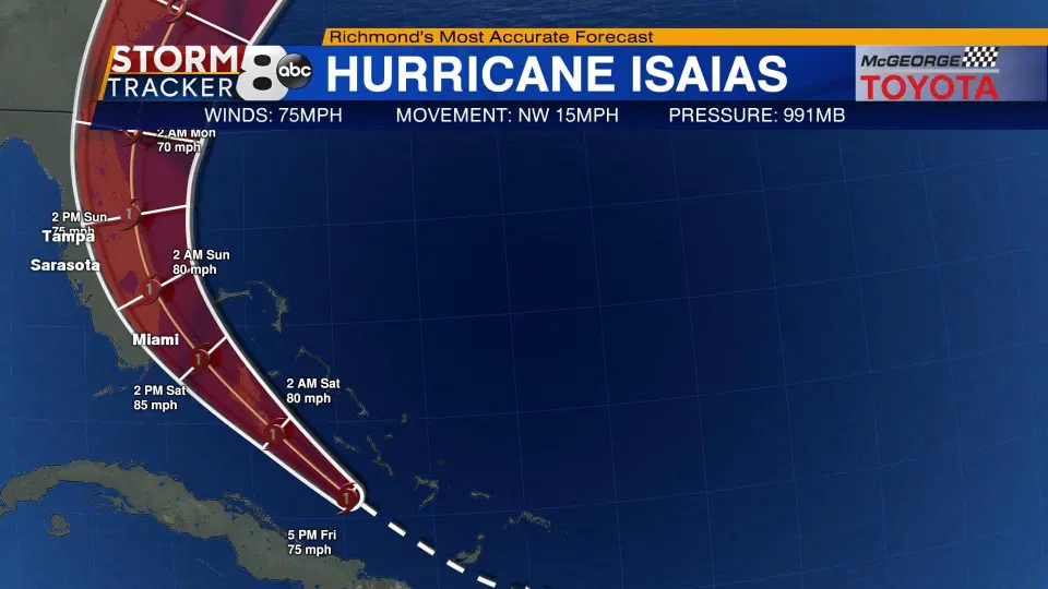 US and Canada weather forecast August 1: Hurricane Isaias heads toward Bahamas and Florida