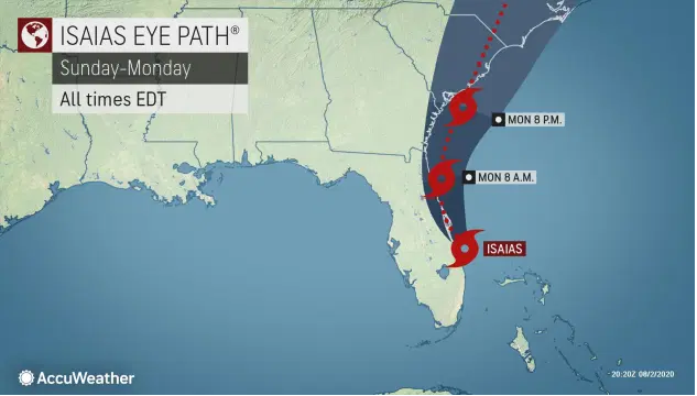 US and Canada weather forecast August 3: Tropical Storm Isaias to ride Florida's east coast, could strike Carolinas as hurricane