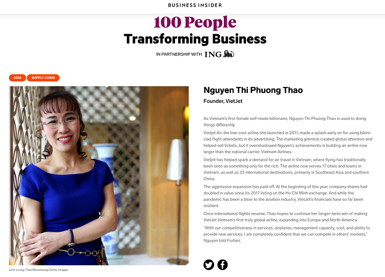 VietJet Air's CEO named among 100 people transforming business in Asia