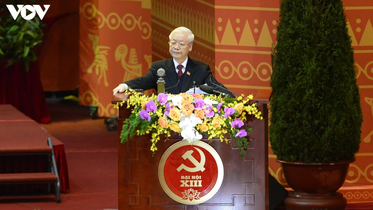 Party General Secretary and State President Nguyen Phu Trong delivers a speech at the congress.