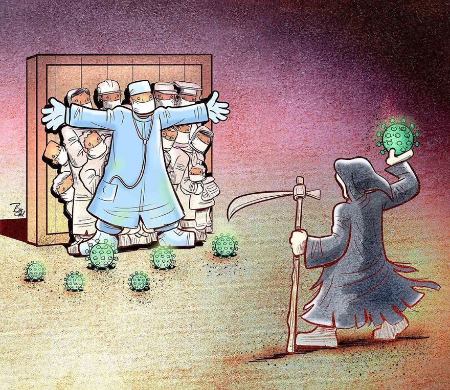 illustrations by iranian artist show the harsh reality of doctors during coronavirus outbreak