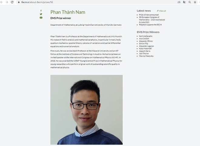 Vietnamese young professor wins prize of European Mathematical Society