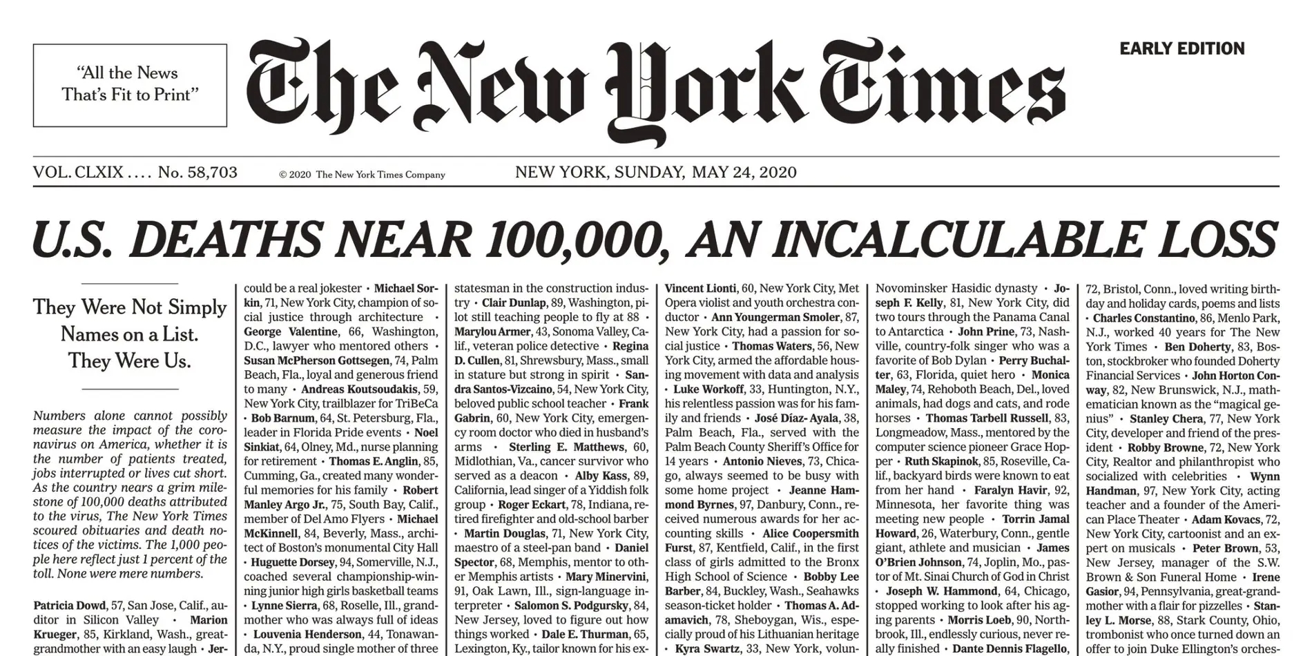 NY Time's front page reveals heart-breaking name list of 1,000 COVID-19 deaths – just 1% of US' tally