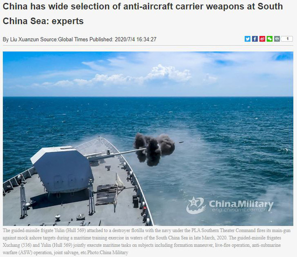 "Global Times perversely declares East Sea (South China Sea) ""fully within the grasp"" of Chinese army"