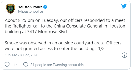 possibly documents burnt in chinas houston consulate beijing may shut us wuhan consulate