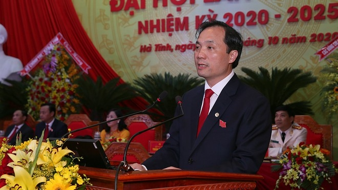 Portrait of newly-elected Secretary of Ha Tinh provincial Party Committee Hoang Trung Dung
