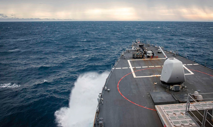us destroyer sails near the spratly islands