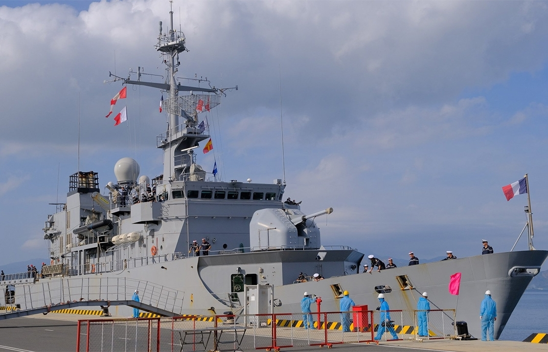 French frigate docked in Vietnam as part of a military cooperation framework