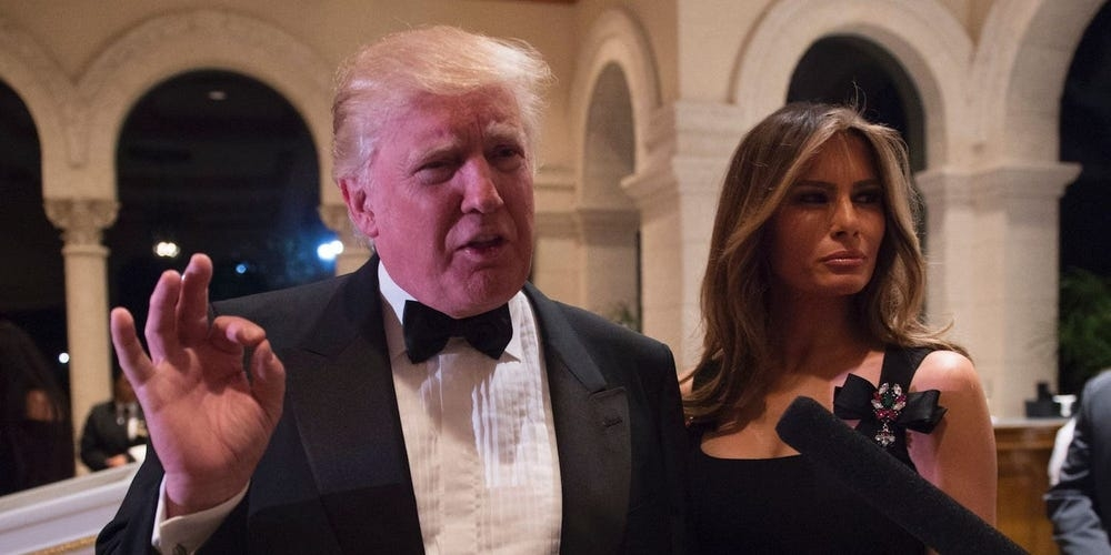 Donald and Melania Trump at the Mar-a-Lago New Year's Eve party in 2016. (Photo: Getty Image)