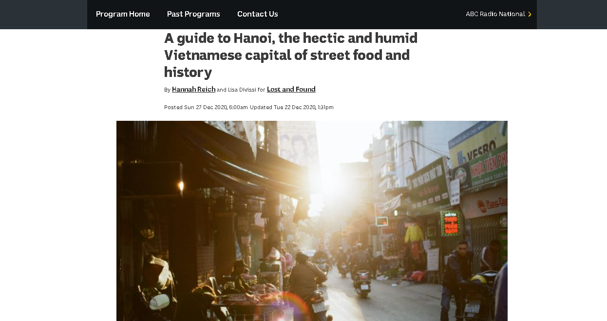 Australian newspaper highlights Hanoi's street food, history