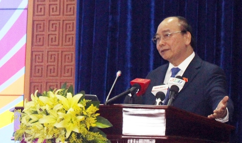 Prime Minister Nguyen Xuan Phuc addresses the ceremony. (Photo: Nhan Dan)