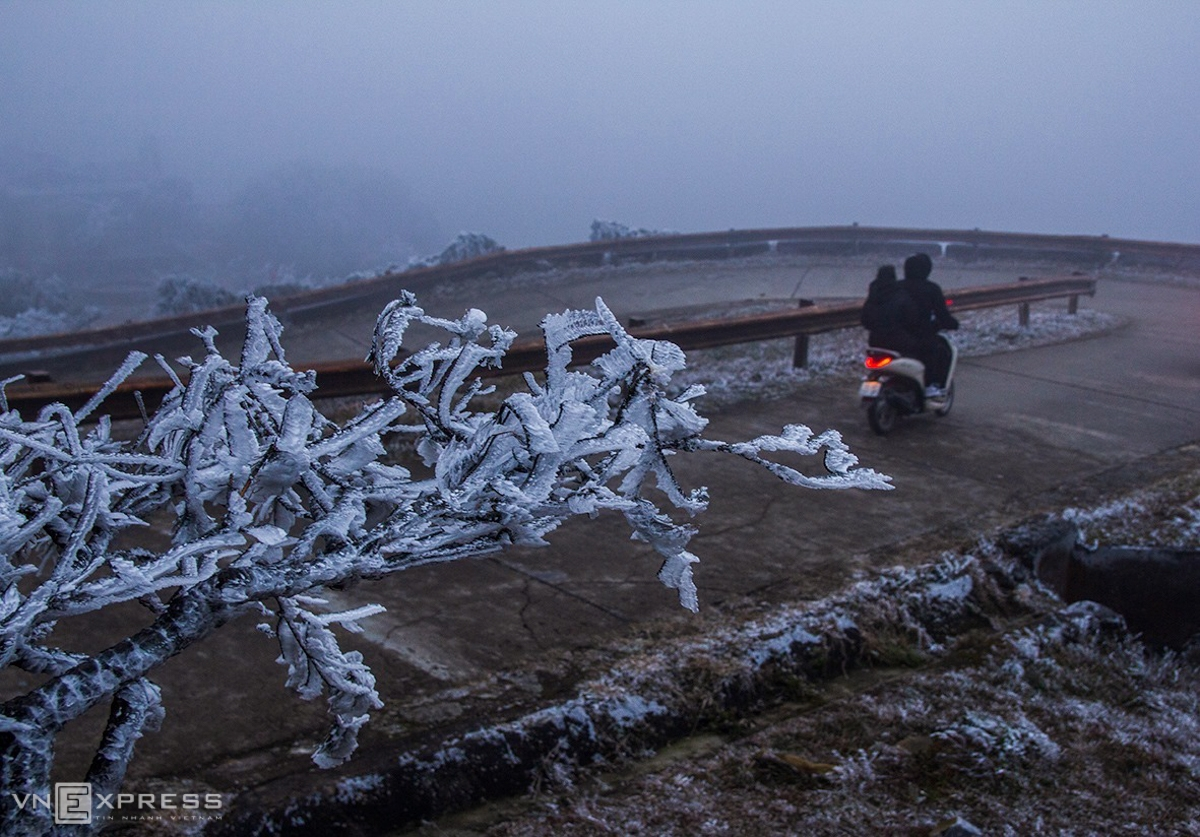 Along the route stretching more than 3km, frost is ubiquitous. (Photo: VNE)