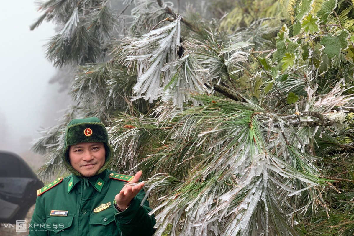 In Lao Cai, ice also appeared in Y Ty commune, Bat Xat district and Sa Pa town. According to border officials, most of the tree tops along the patrol border are covered with frost (Photo: VNE)