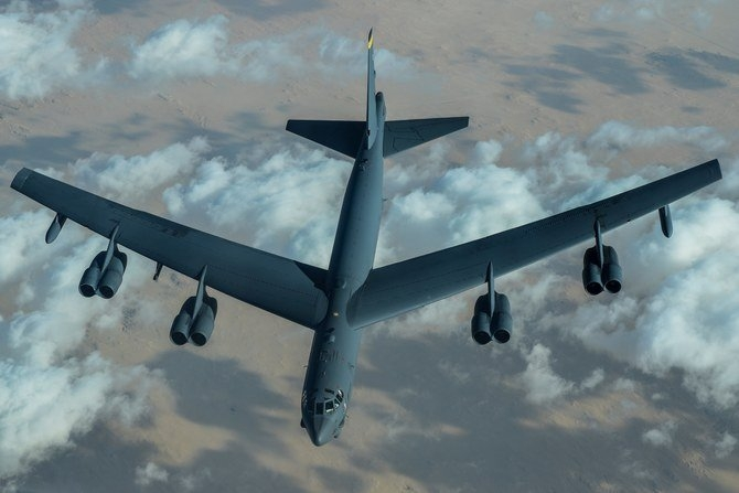 US Air Force B-52 Stratofortress after refuelling during a mission over the Middle East on Sunday. (US Air Force)