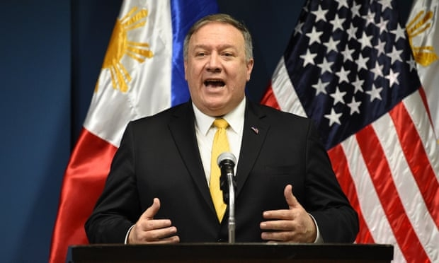 Mike Pompeo in Manila, where he said the US will defend Philippine vessels in the South China Sea (Photo: Getty Images)