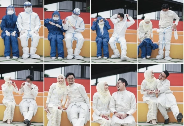 malaysian frontliner couple goes viral with ppe themed wedding shoot