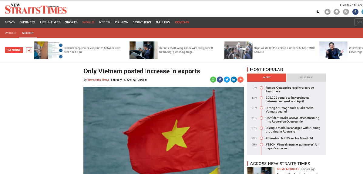 Vietnam named the only nation among 6 Asian countries with increase in exports