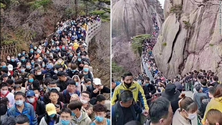 Chinese flocks to tourist sites as the country easen lockdown despie warnings