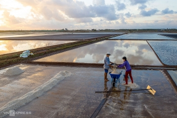 Picturesque salt fields in Bac Lieu, Southern Vietnam