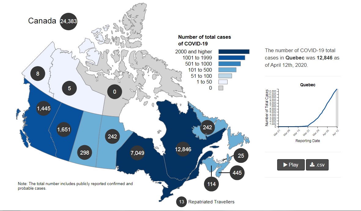 coronavirus updat us is worlds biggest epicenter canadas infections approaching 24400