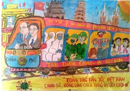 """Vietnam's train pushes back COVID-19"" the special prize winner of children painting contest"
