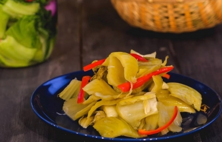 Pickled mustard greens, traditional side dish for the taste of Vietnam