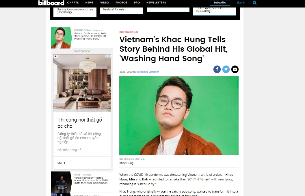 billboard runs feature on vietnam coronavirus song composer