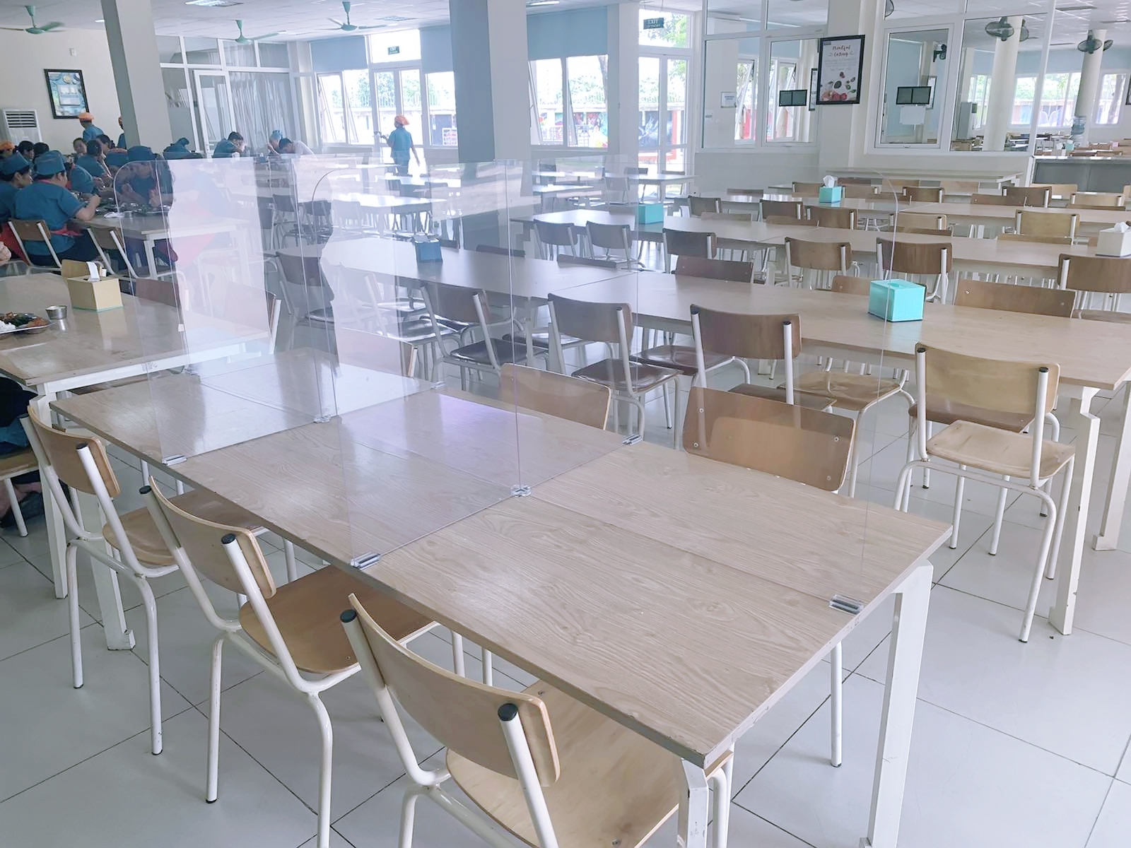 covid 19 combat table partitions installed in schools to curb covid 19