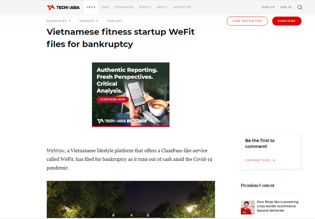 fitness startup wefit files for bankruptcy