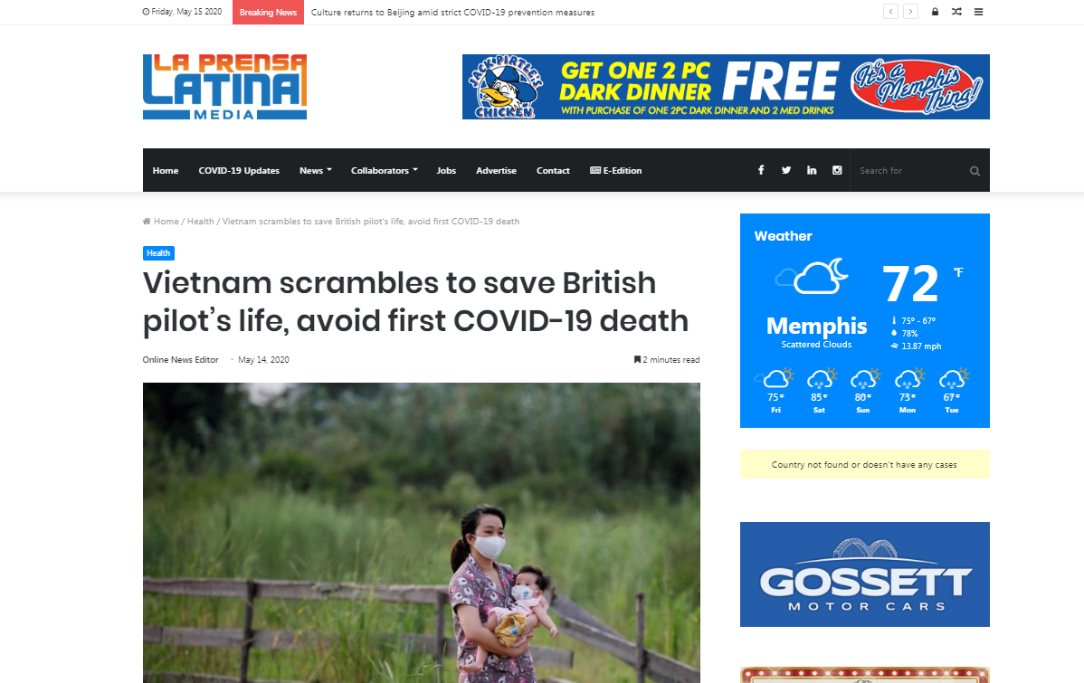 reuters lauds vietnams determination to save the critical covid 19 british pilot