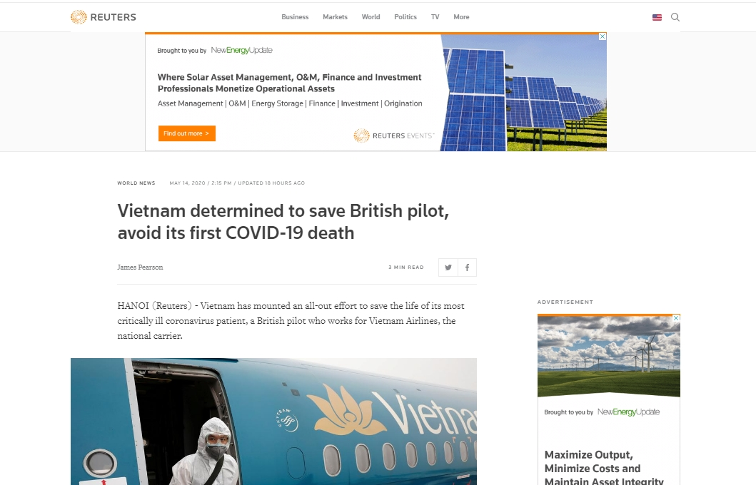 reuters lauds vietnams determination to save the critical covid 19 british pilot