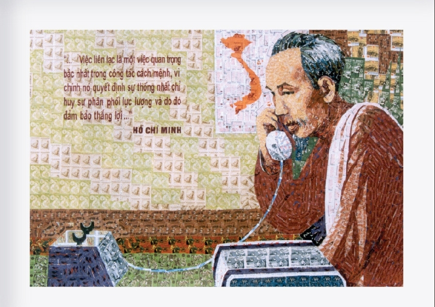 vietnamese infinite affection towards president ho chi minh through 500 stamp collages