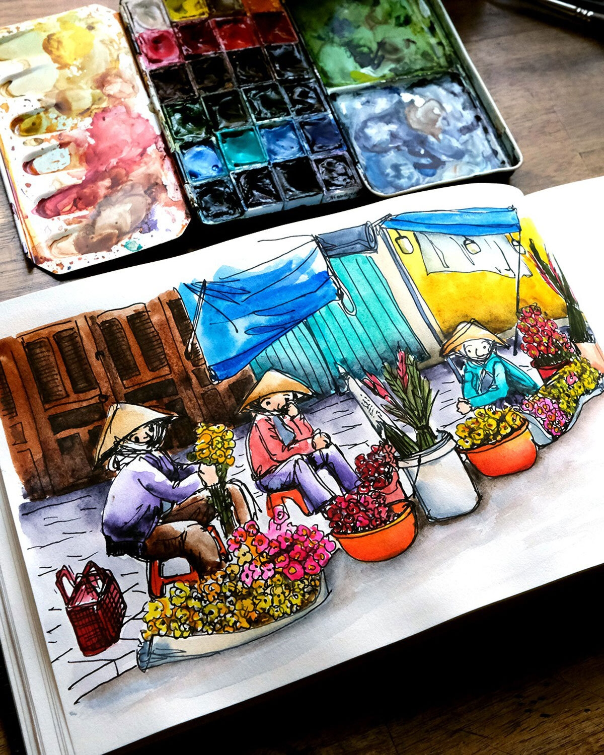 vibrant hoi an under australian artists sketches