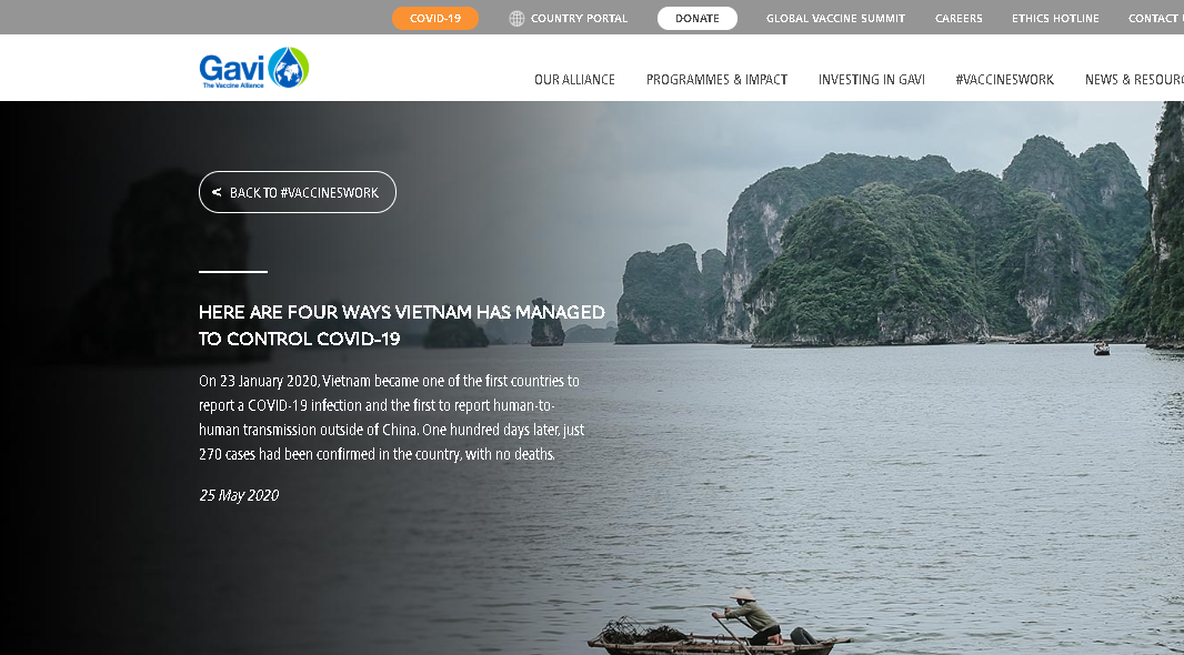 vietnams success against covid 19 won global vaccine organizations praise