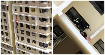 Rescue soldiers save suicidal girl from jumping off 18th floor, with video