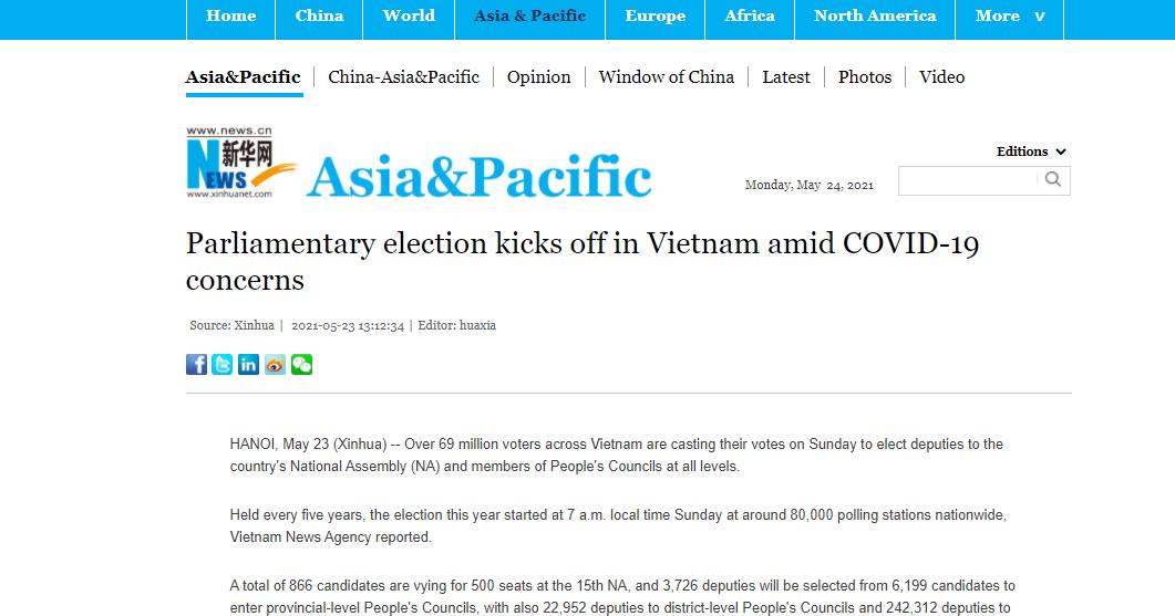 Vietnam's NA election makes international headlines