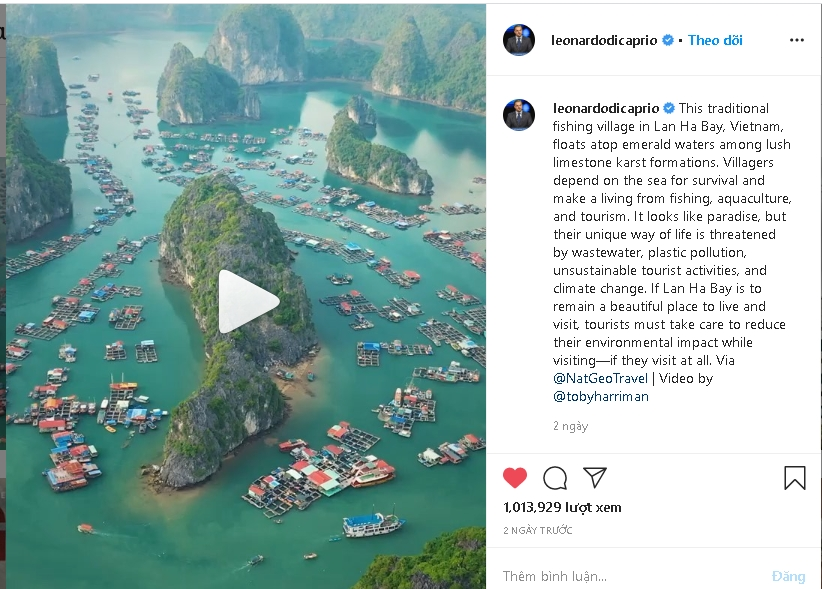 leonardo dicaprio calls for protection of vietnams lan ha bay