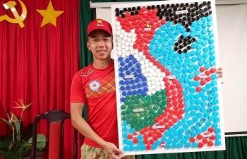 vietnamese blue beret doctors make vietnam map from bottle caps
