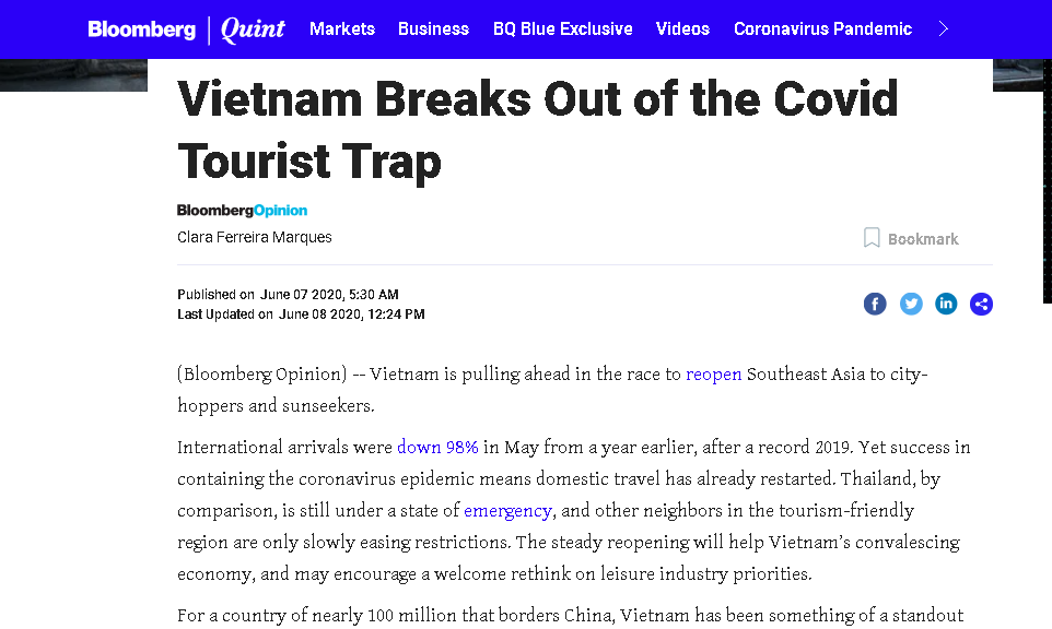 Bloomberg speaks highly of Vietnam's tourism trend post COVID-19