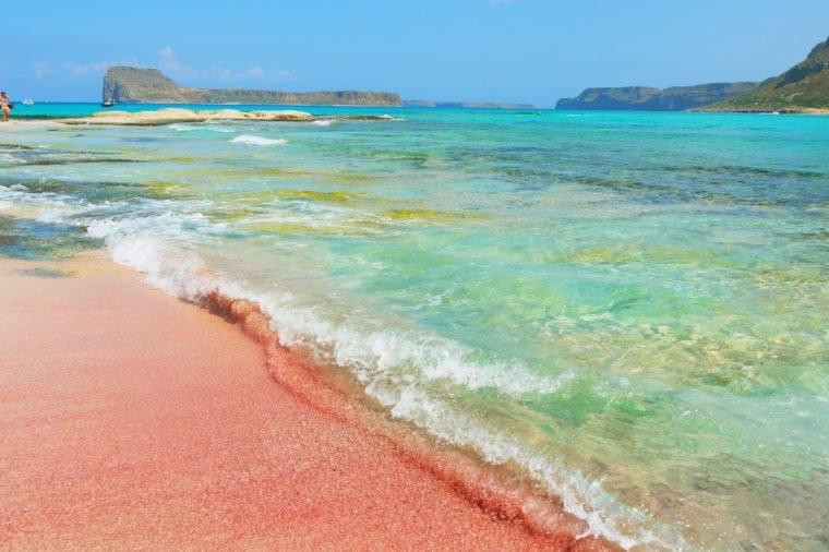 Peachy pink sand beach, a sense of romance during hot summer days