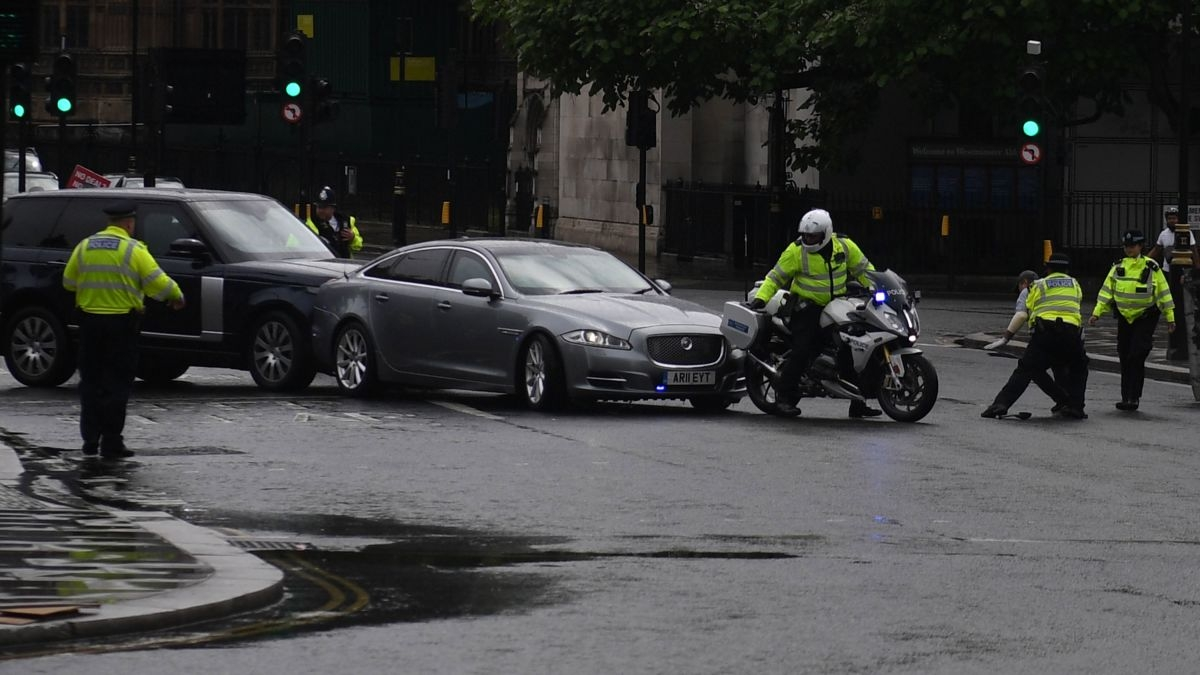 Boris Johnson's car was hit by security vehicle as it was leaving the main gate of parliament