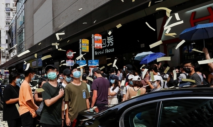Protesters unleashed hell money during a march protesting against the security law on July 1